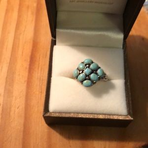 Turquoise and silver ring sz 5